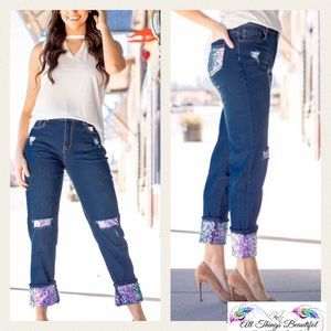 PLUS •L&B Vegas Sequin Accent Boyfriend Jean•